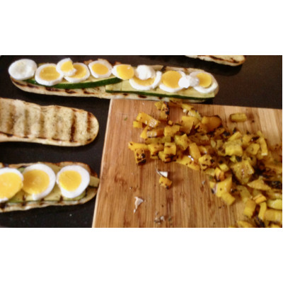 Boite à lunch : Panini aux oeufs et légumes grillés