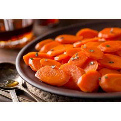 Carottes vapeur, légèrement sautées aux thym et à l'huile d'olive