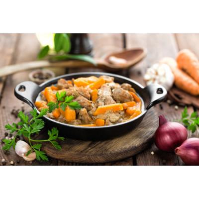 Boîte à lunch: Rôti de porc en sauce avec légumes du moment